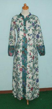 Grosir gamis muslimah menyediakan aneka model gamis Baju gamis batik hijau tosca